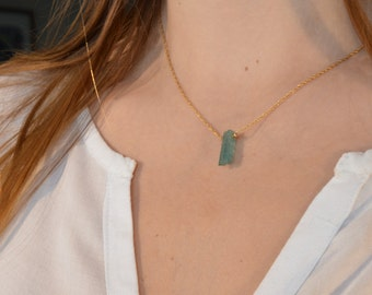 Tourmaline Crystal Necklace * gross and fine chain