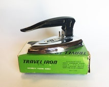 Vintage Iron Cherry Travel Iron with Automatic Folding Handle, Retro Housewife, 50s Housewife, Hipster Housewife, Mid Century, Made in Japan