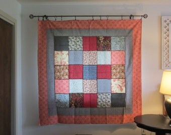 Apricot/red, black/white  tablecloth