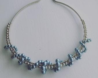 Grey & Light Blue Faux Pearl Beaded Headband, Silver plated. Weddings, Brides, Bridesmaids, Flower Girls