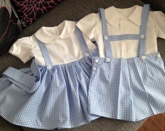 Boys And Girls Blue Gingham And White Cotton Twin Sets, Dress,T-Bar Shorts And Shirt, 3 Months to 5 Years