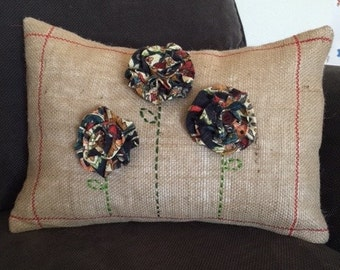 "12"" x 16"" Flower Burlap Pillow Cover"