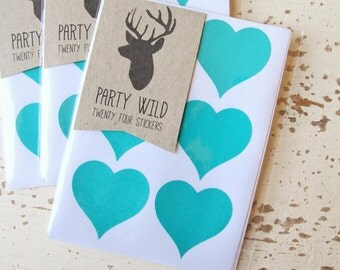 Heart Stickers Pk24 3.8cm - Teal