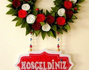 Handmade door decoration,felt door, door decoration, door wreath, felt door wreath, red wreath,red door wreath, home decoration, felt wreath