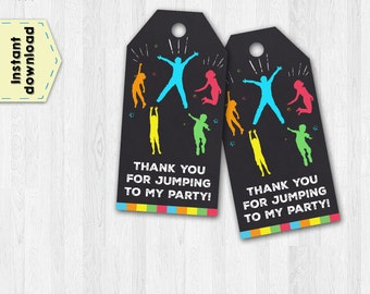 Jumping tags - Trampoline tags - Bounce House tags - Jump thank you tags - Thank you tags - Party tags - Birthday tags - Party favor tags