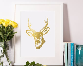 Deer Print, Gold Foil Deer Print, Deer Art, Deer Decor, Animal Print, Home Decor 8x10-A4