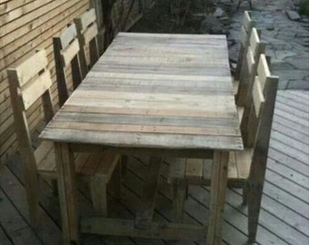 Outdoor Reclaimed Wood Table and Chairs