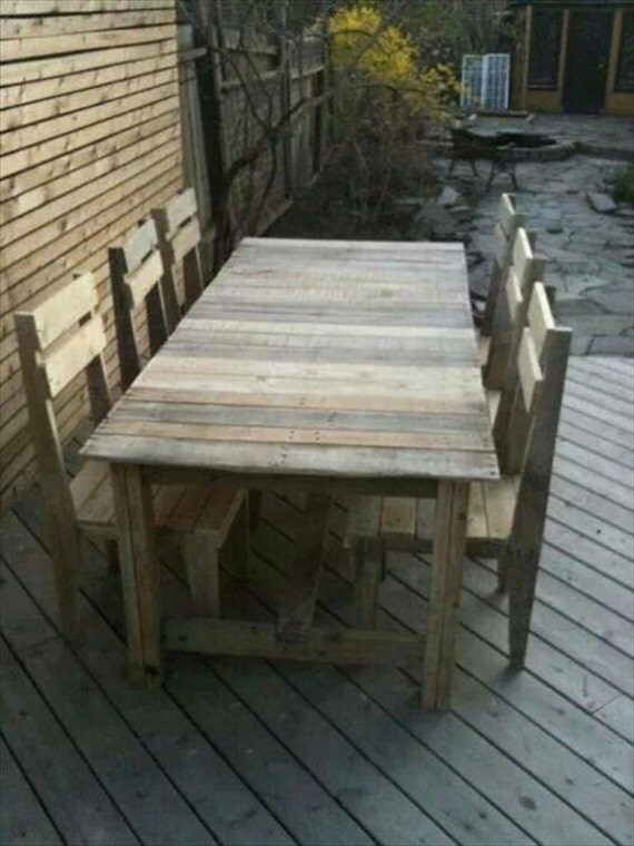 Items Similar To Outdoor Reclaimed Wood Table And Chairs