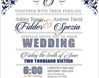 DIGITAL* Vintage Wedding Invitation
