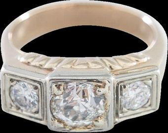 1930's Classic Man's Three Stone Diamond Ring