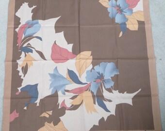 Vintage Beige Ladies Jacqmar Scarf - Pastel Floral Print