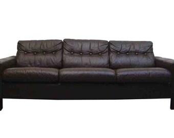 Vintage Leather Danish Sofa 1970s