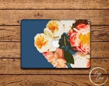 MacBook Vinyl Decal Floral - MacBook Air Sticker - Floral MacBook Skin - MacBook Sticker with Peony in dry brush stylized realism EL007