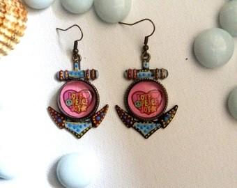 Anchors, Funky Earrings, Funky Jewelry, Dangle Earrings, Hippie Earrings, Peace, Love, Joy, Colorful Earrings, Summer trends, Summer Jewelry