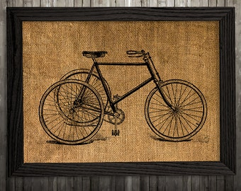 Retro print Burlap art Bicycle poster Vintage print BLP882