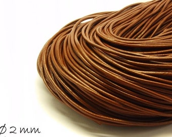 5 m leather band Brown, Ø 2 mm