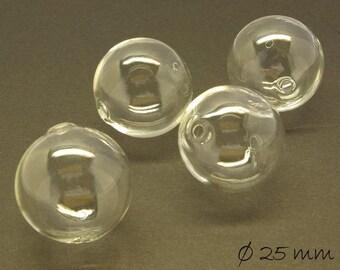 10 beads hollow transparent 25 mm