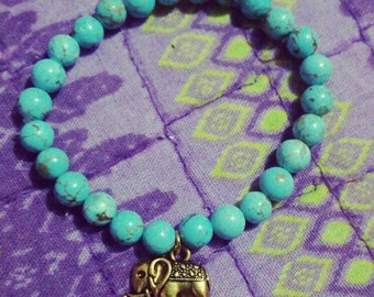 Blue luck elephant bracelet.