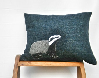 Sold out coming back soon Hand Crafted Badger Harris Tweed Cushion Cover