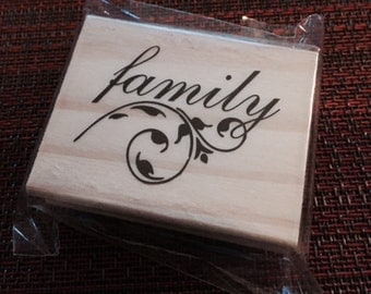 """25%OFF SALE NEW Michaels Wood rubber stamp """"Family"""""""