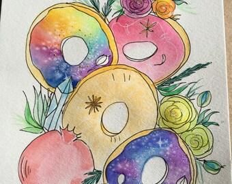 Rainbow galaxy donut original painting