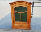 Antique Wall Cabinet - Rustic Apothecary Cabinet or Bathroom Cabinet with Green Ribbed Glass and Spacious Drawer - Antique Furniture 1950s
