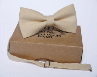 Beige Bow Tie for wedding / linen bow tie for men / bow tie Beige / bow tie for baby / Beige boy's bow tie, Beige necktie, men's bow tie