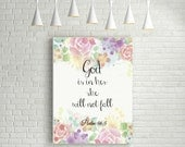 God is in her she will not fall  Psalm 46:5. Printable. Bible quote print. Scripture art Instant download