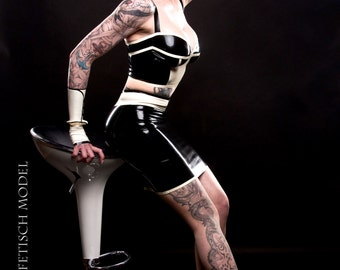 CL design LaTeX pencil skirt with LaTeX studs
