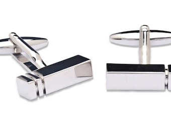 Cufflink with Ingot shape and Grooves
