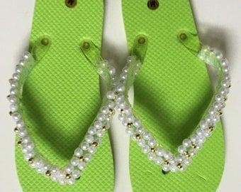 Lime flip flops
