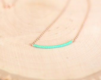 Dainty mint green necklace. 14k rose gold bar necklace. Bead bar necklace. Mint bridesmaid jewelry.  Delicate rose gold necklace. Layering.
