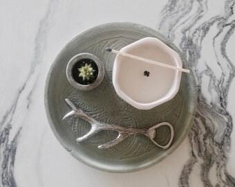 concrete medallion dish | mint green | plate | catchall | decorative tray | platter