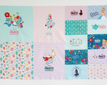"""Alice in Wonderland Character Fabric made in Korea By the Panel Linen  53"""" X 36""""(135cm X 90cm)"""