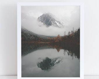 Mountain Print, Poster Printable Landscape, Autumn Wall Art, Winter Landscape, Instant Download, Lake Photography, Nature Picture, Mountain.
