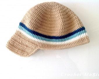 Brown Crochet Hat with Blue Stripe