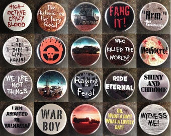 """Mad Max: Fury Road 1.25"""" pinback buttons"""