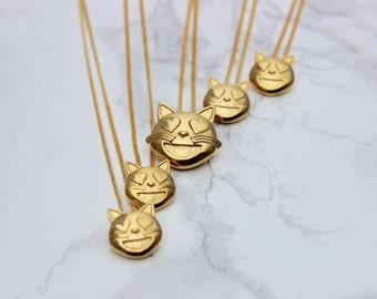 Cat Emoji Necklace, Kitty Emoji Jewelry, Kitty Cat Emoji Jewelry, Heart Eyes Cat Emoji Jewelry, 24k Gold Emoji 3D, Kitten Necklace