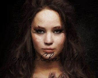 Stunning digital oil painting of Katniss Everdeen from The Hunger Games