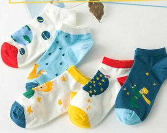 The LITTLE PRINCE Socks - Stars/ Fox/ Multi Color/ Optical/ Spring/ Cute/ Korean/ Kawaii