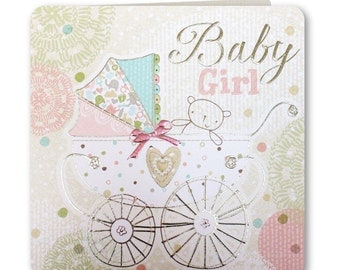 New Baby Card - Baby Girl - New Baby Girl Greeting Card - Congratulations - Hey Baby Collection - HB01