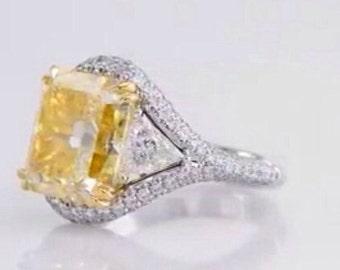 fenci yellow colorizada 2.0CT central Diamond 14 k white gold ring