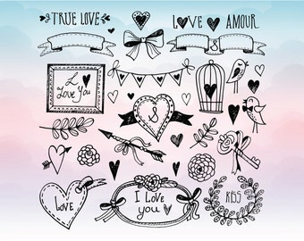 Love elements for scrapbooking - Vector love elements file SVG, EPS, DXF - Vectors for cricut - Silhouette studio files