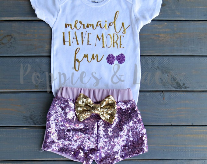 Mermaids Have More Fun Outfit, Baby Girl One Piece, Birthday Outfit, Girls' Clothing, Trendy Baby Clothes