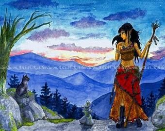 Original Fantasy Art, Twilight, Watercolor Painting, Elf Art Painting, Landscape Painting, Fantasy Painting, Watercolor Print, Wall Art