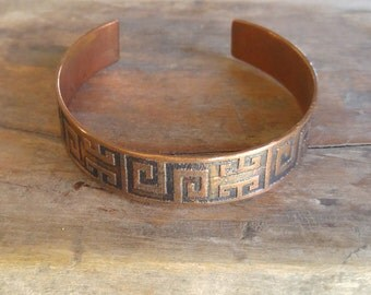 "Copper bracelet with textile Mapuche design ""Caupolicán"""