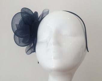 Navy Fascinator Headpiece - Fascinator - Wedding Headpiece - Feather - Prom - Flower - Navy - Royal - Blue