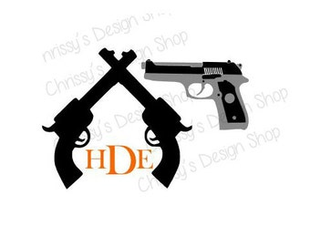 Pistol bundle svg / gun svg / monogram pistol svg / hunting svg / pistol eps dxf file / pistol silhouette / print and cut file