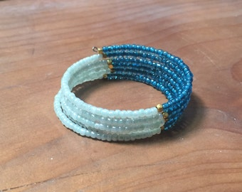sea green, bright blue, gold seed bead memory wire party bracelet, 5 layer