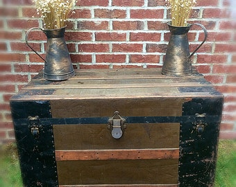 Rare Antique Trunk Coffee Table Storage Blanket Chest